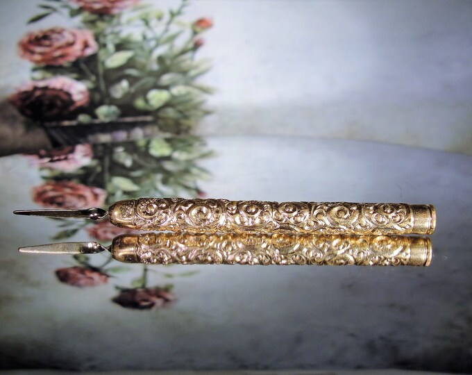 Antique Victorian 10K Gold Filled Propelling Toothpick, Ornate Design, Pocket Toothpick, Retracking, Vintage Toothpick, Antique Toothpick