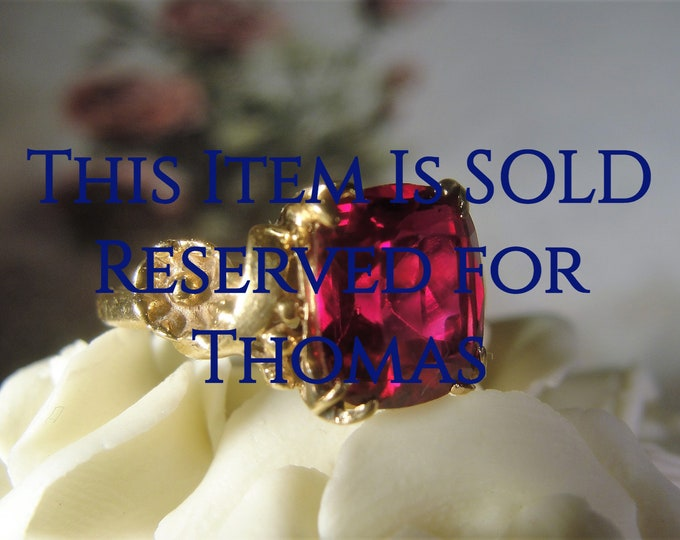 Reserved for Thomas - 9th Final Payment: 14k Gold Ring, Ruby Ring, Ruby Red Ring, Art Nouveau Ruby Ring, Red Ring, Cushion Cut Ruby Ring