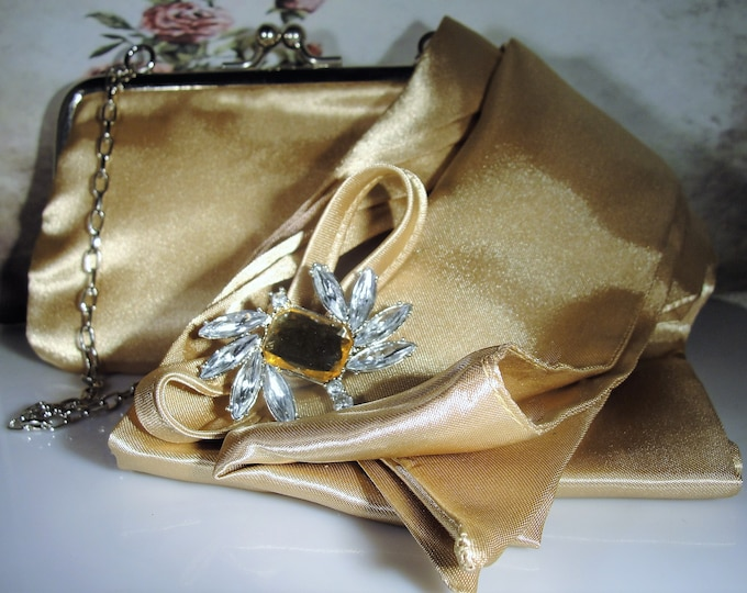Purse Set, Vintage Gold Satin Purse with Matching Sash Scarf and Brooch Set
