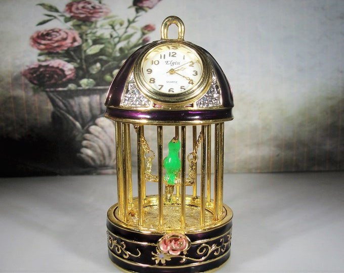 ELGIN Miniature Clock, Purple Enamel and Rhinestone Parakeet Birdcage Miniature Clock, Vintage Miniature Clock, Collectible Miniature Clock