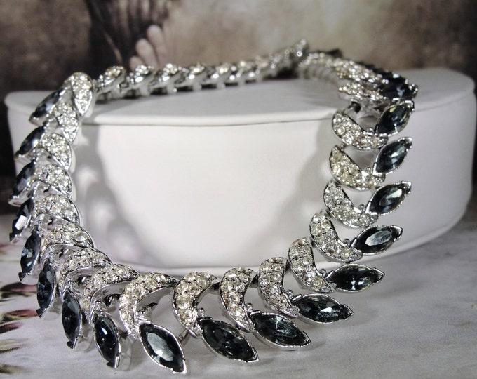 Rhinestone Choker, London Blue and White Marquise Rhinestone Necklace, Rhinestone Choker, Vintage Necklace