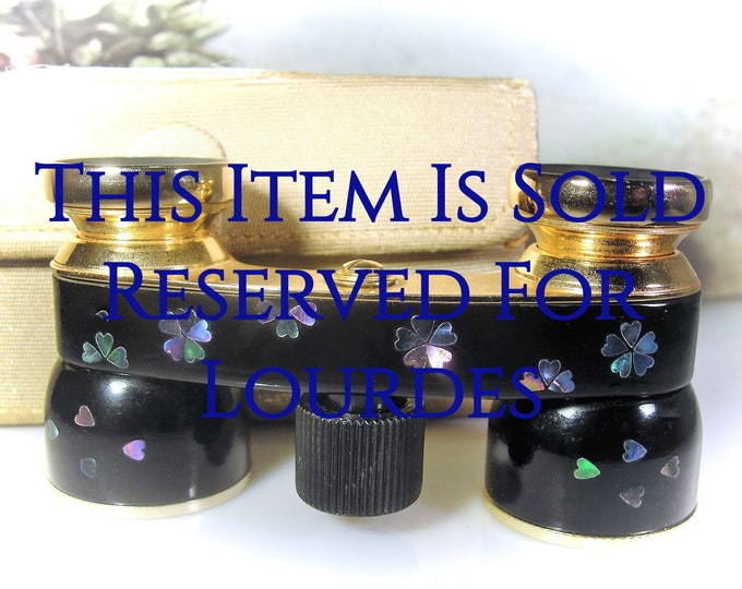 Reserved for Lourdes - 8th Final Payment: Opera Glasses, MIGNON Abalone Applique Black Enamel Opera Glasses, Vintage Opera Glasses