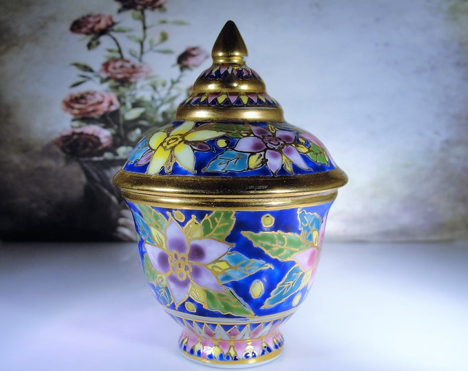 Moroccan Style Hand Painted Cloisonné Porcelain Ginger Jar, Cloisonné Trinket Box, Mini Cloisonné Urn, Jewelry Holder, Vintage Trinket Box