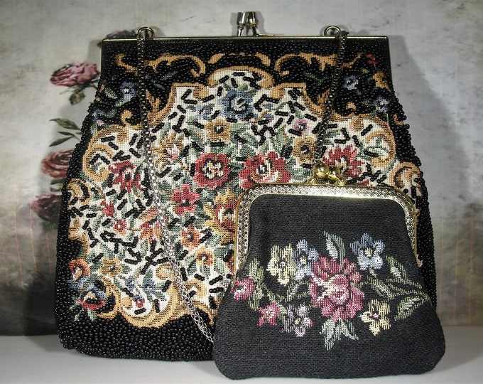 Tapestry Glass Beaded Purse, Black Beaded Tapestry Purse with Matching Coin Purse, Evening Purse, Vintage Purse