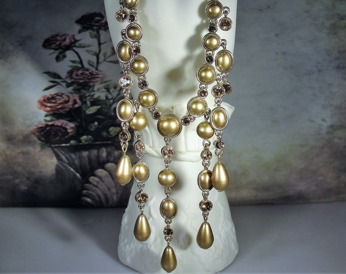 Golden Champagne Colored Glass Beaded Bib Necklace with Amber Crystals, Drop Dangle Bib Necklace, Vintage Necklace