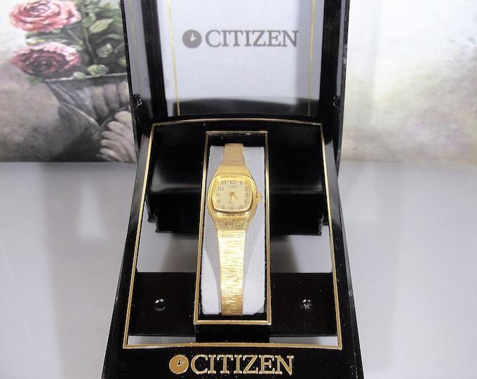 CITIZEN Women's Quartz Gold Tone Wrist Watch, 5920-S0150, Ladies Wrist Watch, 1970s Wrist Watch, Vintage Wrist Watch