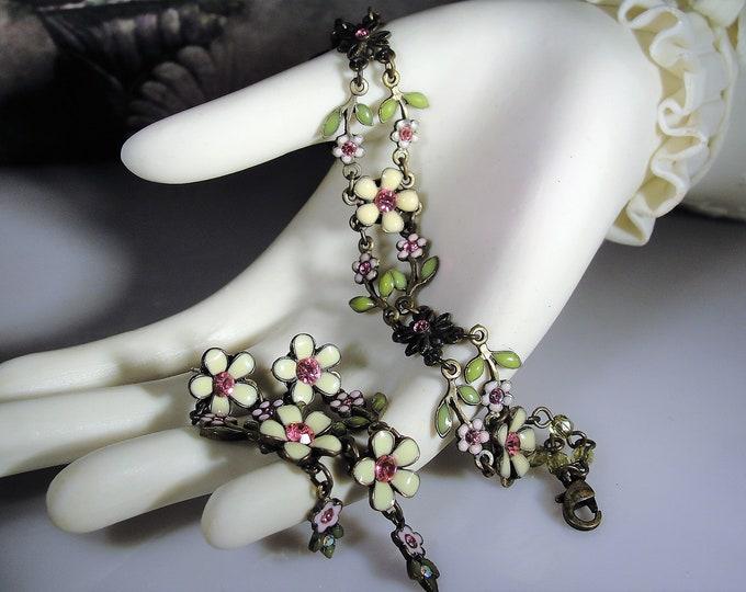AVON NR Flower Enamel Bronze Bracelet and Earrings Set, Nina Ricci, Enamel Rhinestones, Victorian Bracelet & Earrings, Vintage Jewelry Set