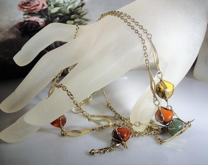 Flapper Necklace, 14K Gold Multi Gem 48 Inch Necklace, Jade Quartz Amber Tiger's Eye, Mixed Polished Gems Necklace, Vintage Necklace