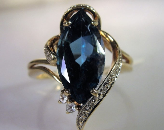 10K London Blue Marquise Topaz Diamond Accented Ring, White Gold Diamond Ribbon Accents, Cocktail Ring, Dinner Ring, Vintage Ring, Size 7.75