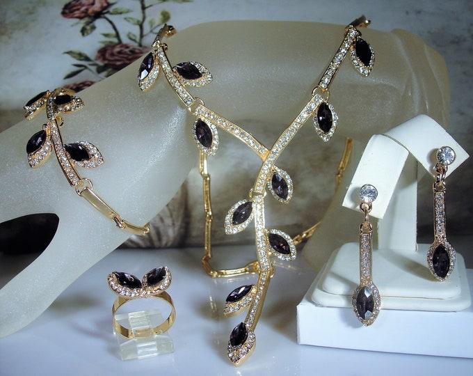 Purple Amethyst Rhinestone 4 Piece Jewelry Set, Lariat Necklace, Bracelet, Pierced Earrings,Adjustable Ring, Vintage Jewelry Set