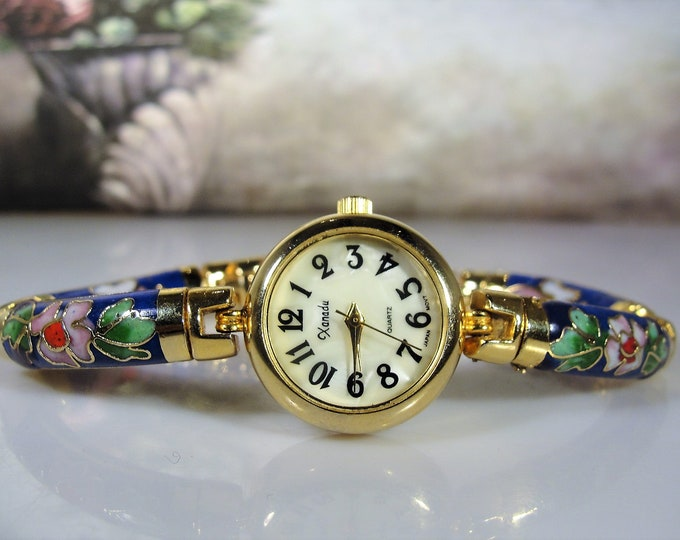 Women's Wrist Watch, Vintage Blue Floral Cloisonné Quartz Wrist Watch