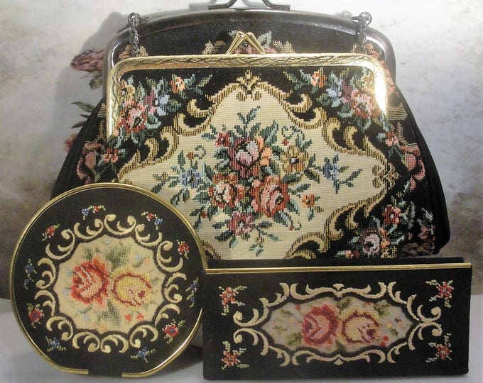 Petite Point Purse Set, Tapestry Purse Set, Purse Accessory Set, Tapestry Purse, Tapestry Compact, Tapestry Comb Case, Tapestry Coin Purse
