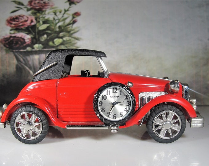 SHARP Clock, Classic Miniature Red Car Clock, 1930's Red Automobile Clock, Red Roadster Clock, Vintage Miniature Clock, Collectible Clock