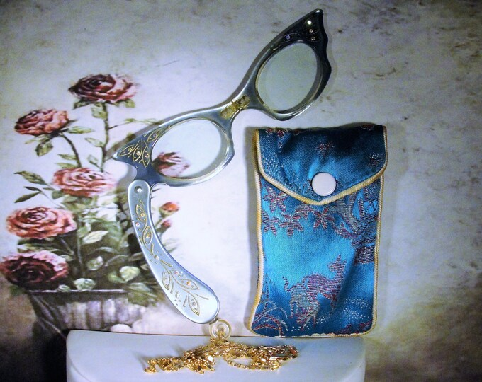 Blue Aurora Borealis Folding Lorgnette Glasses, Lorgnette with 18K Gold Plated Chain and Embroidered Satin Case, Vintage Lorgnette Glasses