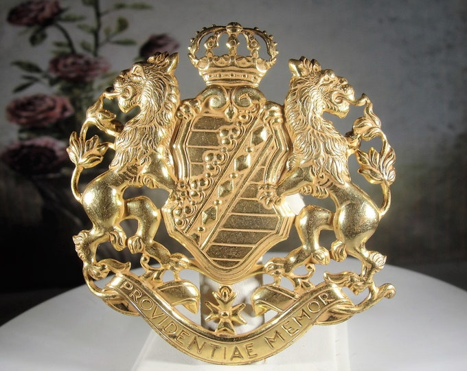 """MIRIAM HASKELL 1950's """"Providentiae Memore"""" Coat of Arms Brooch, Authentic Miriam Haskell Brooch, 2 5/8"""" x 2.5"""", Vintage Brooch, Collectible"""