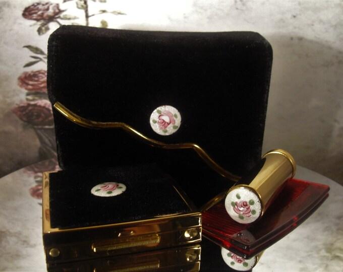 Compact Purse Set, ZELL Saks Fifth Avenue Guilloche Black Velvet Small Clutch and Compact Set, Vintage Compact Purse Set
