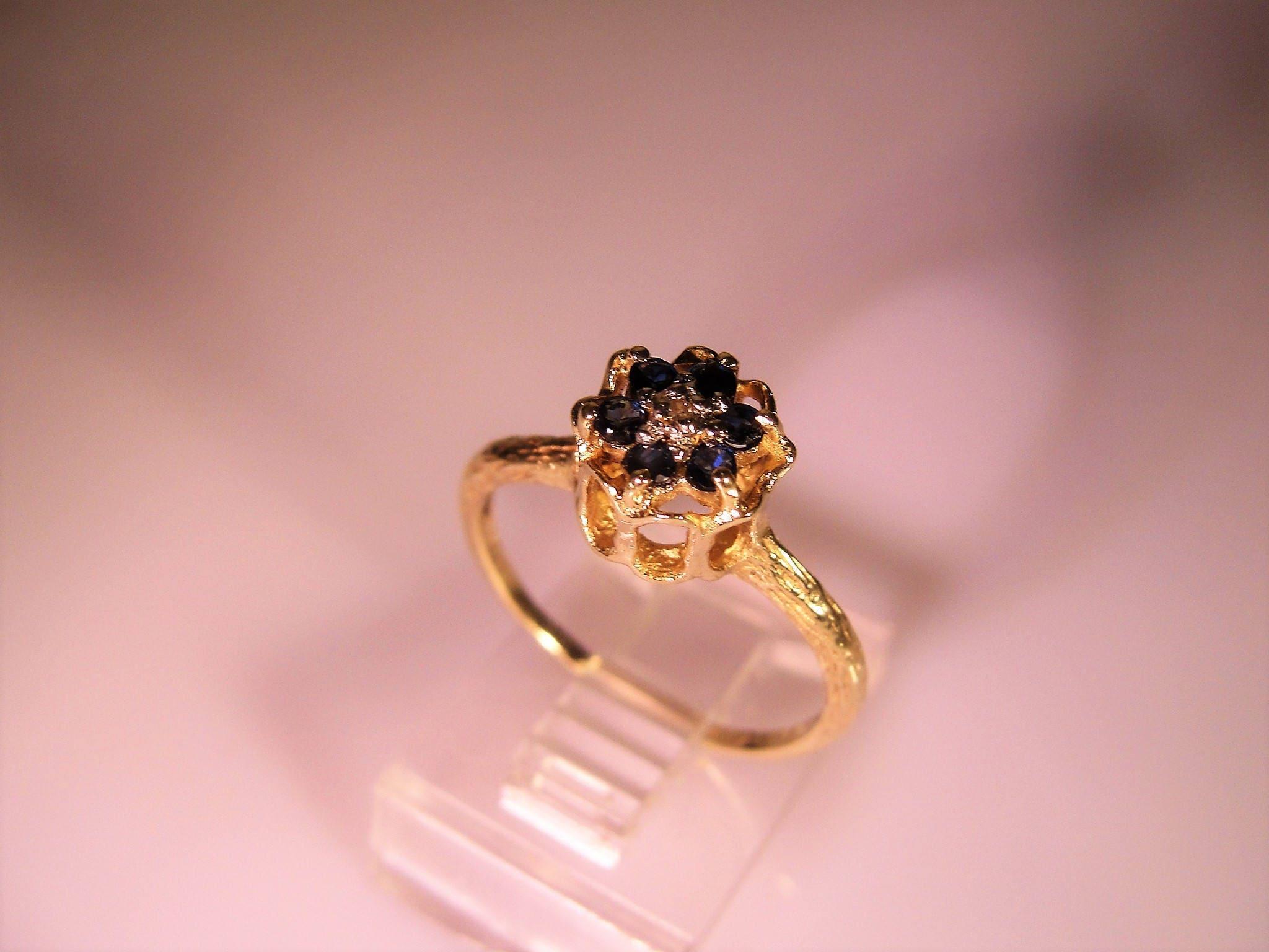 Blue Tulip Ring, 14K Gold Ring, Genuine Sapphire, Genuine London ...