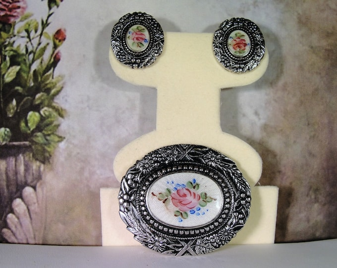 Brooch and Earrings Set, Vintage Hand Painted Floral Cameo Guilloche Silver Toned Brooch and Earrings Jewelry Set