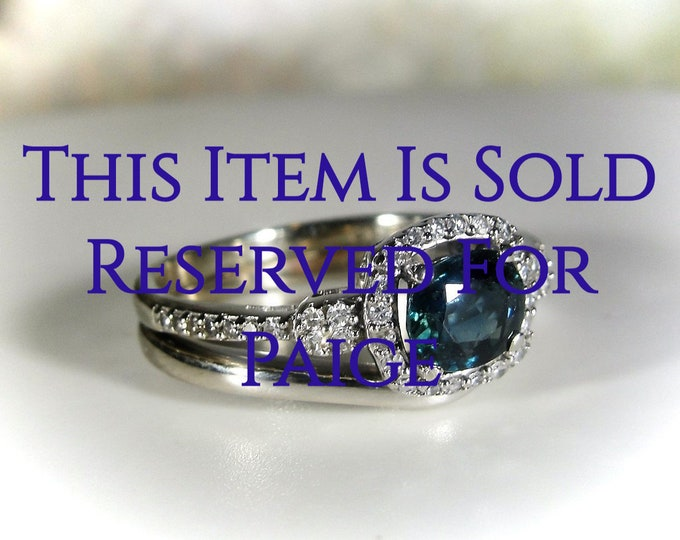 Reserved for Paige - 11th Final Payment: Bridal Ring Set, 14K White Gold Bluish-Teal Sapphire Diamond Bridal Ring Set, Engagement & Wedding