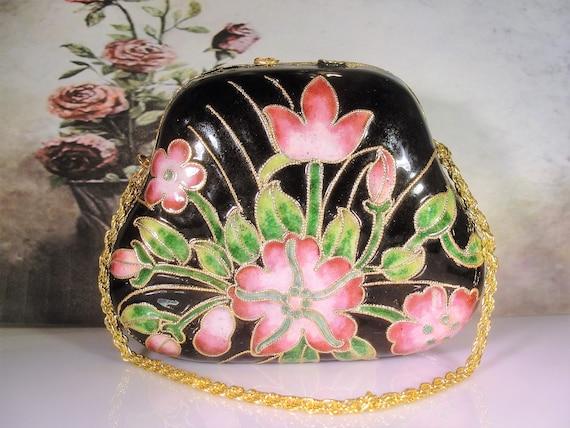 Cloisonné Purse, Vintage Floral Cloisonné Enamel H