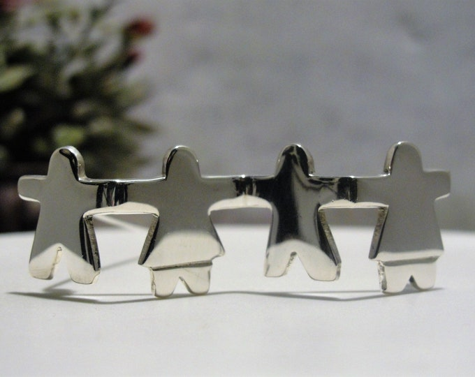 Sterling Silver Save the Children Brooch, Paper Doll Brooch, Children's Bar Brooch, Vintage Brooch