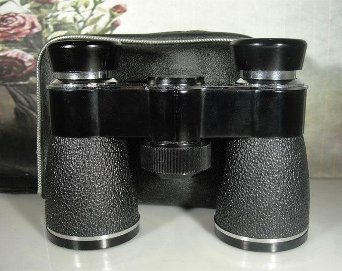 Miniature Binoculars, JASON Black Leather Miniature Binoculars and Matching Vinyl Case, Sports Glasses, Field Glasses, Vintage Opera Glasses