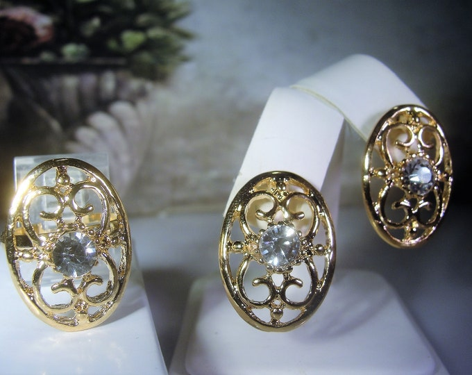 Ring and Earrings Set, Gold Plated Ring, Gold Plated Pierced Earrings, Rhinestone Ring & Earrings Set, Vintage Jewelry Set, Demi Parure