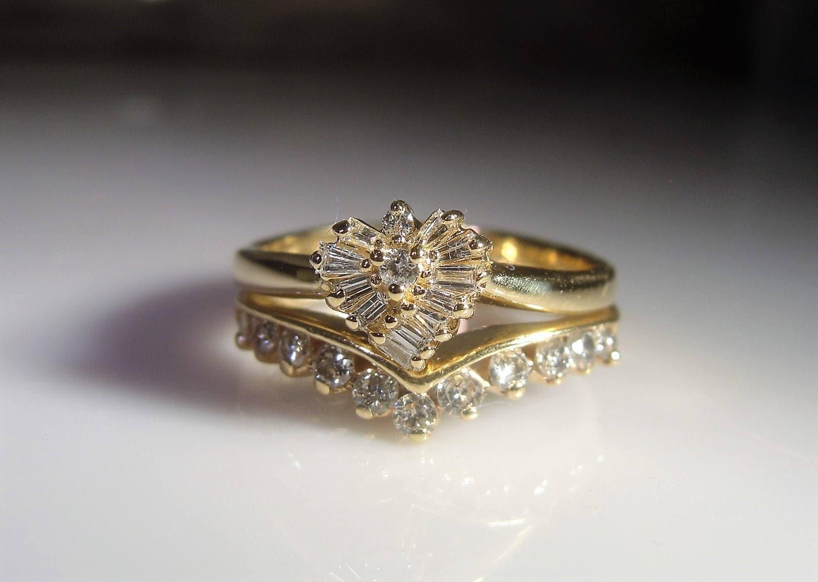 14k Bridal Ring Set Wedding Ring Set Heart Shaped Engagement Ring