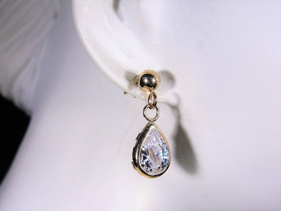 Pierced Earrings, 14K Yellow Gold Teardrop Zircon