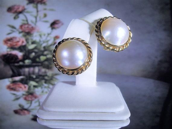 14K Mabe Pearl Earrings, 16MM Pearl Earrings, Pear