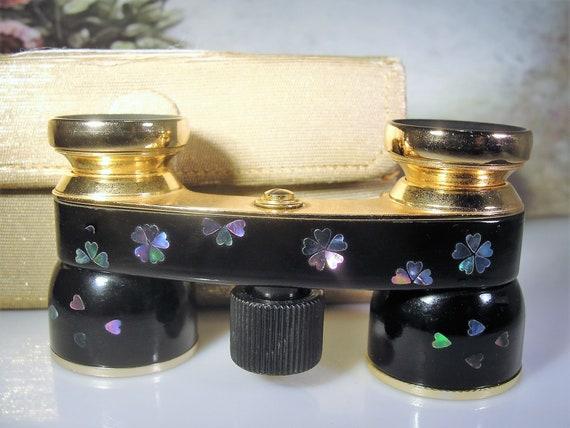 Opera Glasses, MIGNON Abalone Applique Black Ename