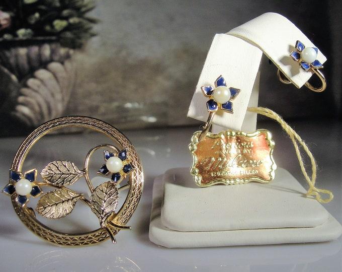 Brooch and Earrings Set, Vintage MILANO 12K Gold Filled Cultured Pearl & Blue Enamel Flower Brooch and Earrings Jewelry Set