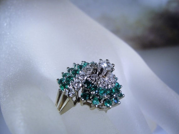 Emerald and Diamond Ring, 14K White Gold Ring, Gre