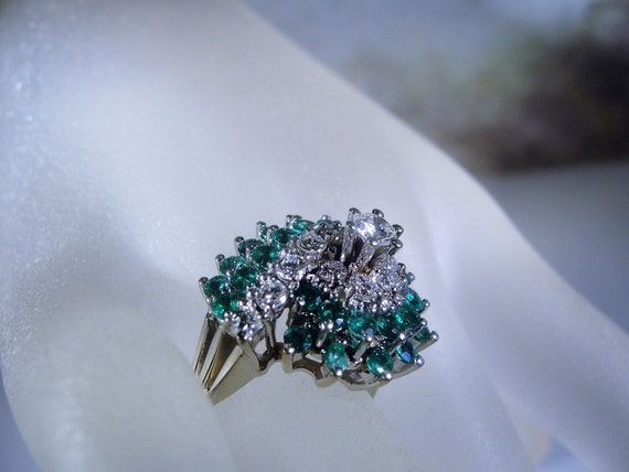 Reserved for Nadia: Emerald and Diamond Ring, 14K