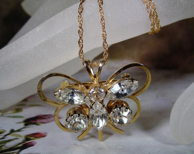 Convertible Brooch, Clear Rhinestone Butterfly Convertible Brooch and Necklace, Butterfly Brooch, Butterfly Necklace, Vintage Brooch
