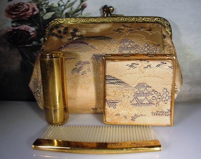 Purse Set, MAJESTIC 1950s Small Silk Gold Tone Purse and Matching Compact Lipstick Holder & Comb