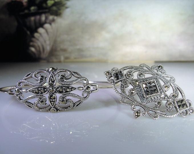 Marcasite Jewelry Set, Vintage Sterling Silver Marcasite Bangle and Brooch Matching Set, Vintage Bangle, Vintage Brooch
