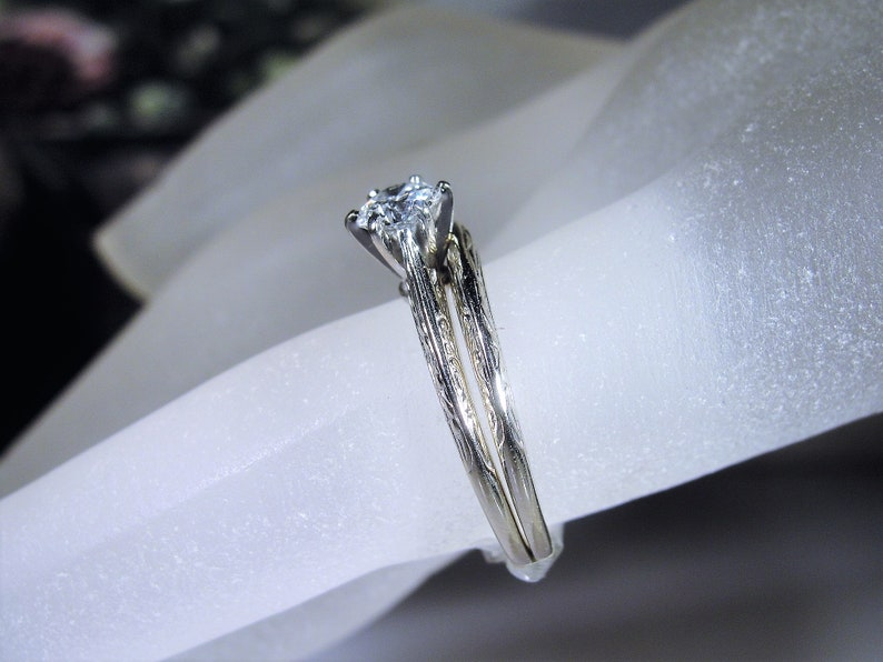 11th Payment Reserved for Ciera Decorative Etched Bands Sz 6 Art Deco 14K White Gold Diamond Solitaire Bridal Ring Set