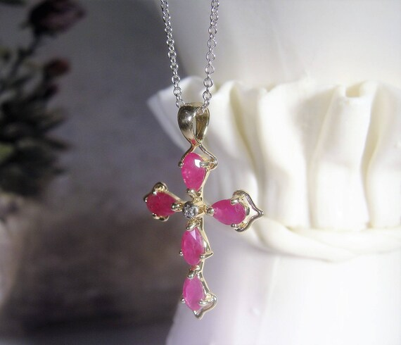 17b0eeffd25b 14K Ruby and Diamond Cross Necklace Ruby Cross Necklace