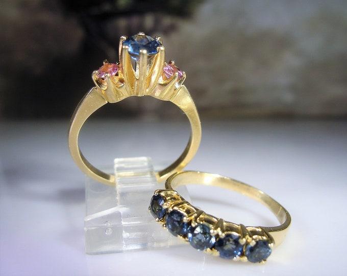 Bridal Ring Set, 14K Gold Blue Ceylon Sapphire & Pink Topaz Engagement Ring, Blue Spinel Wedding Band, Vintage Rings, Size 6.25, FREE SIZING