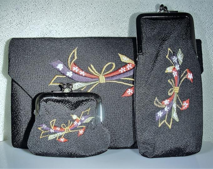 Purse Set, Vintage Japanese K'ntetsu Purse Set Embroidered Envelope Purse w/ Matching Eye Glass Case & Coin Purse, Vintage Purse Set