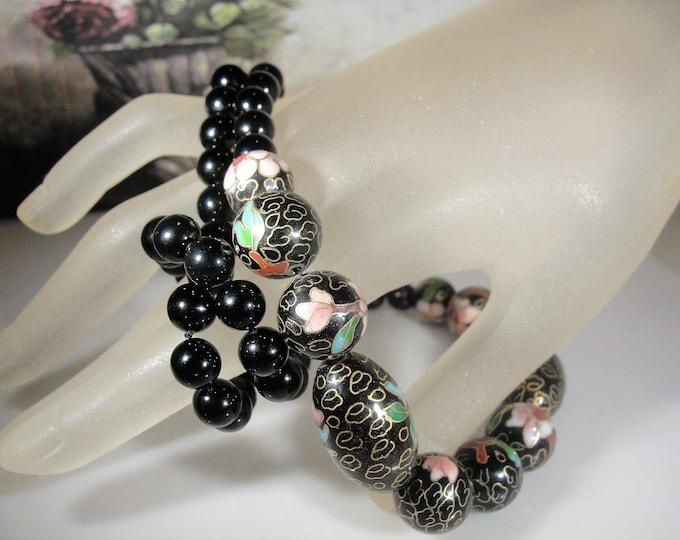 Cloisonne Beaded Necklace, 14K Black Onyx Cloisonne Beaded Necklace, 18 Inches Long, 14K Gold Ball Clasp, Vintage Cloisonne Necklace