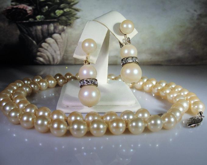 "Jewelry Set, Pearl Necklace and Earrings, 30"" String of Pearls, Screw Back Pearl & Rhinestone Earrings, Vintage Jewelry Set"