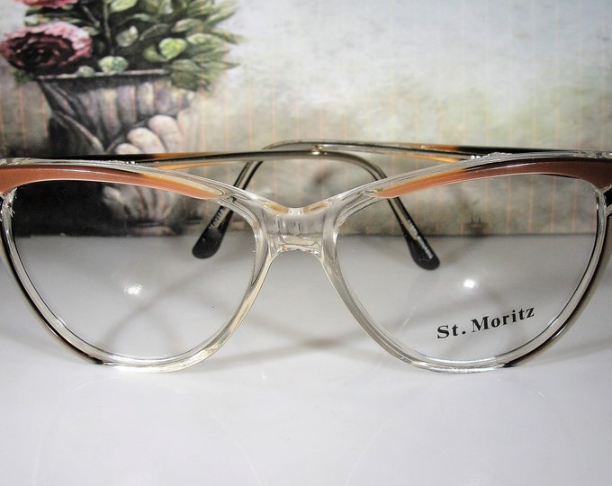 Vintage 1980s Cat Eye Glass Frames, St. Moritz PALOMA Model, Women's Eye Glasses, 57-17-143, Clear Lenses, Vintage Eyeglass Frames, NOS