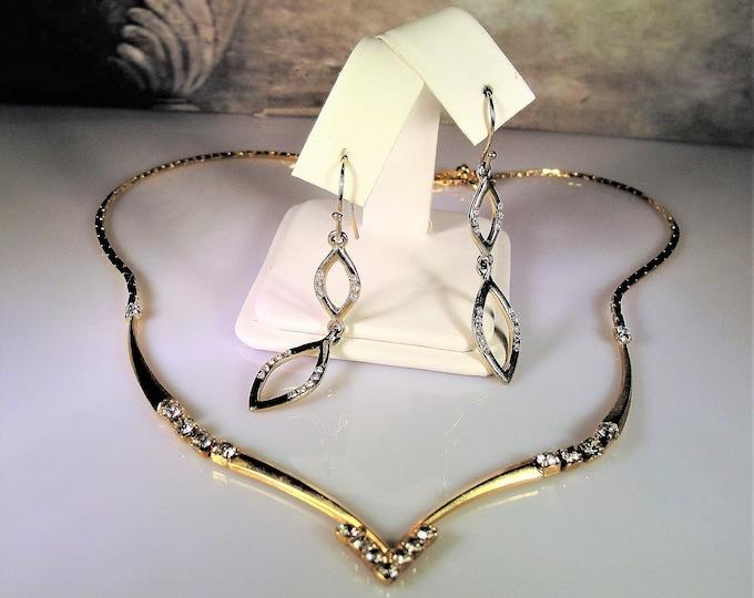 Jewelry Set, Rhinestone Chevron Necklace and Earrings Jewelry Set, Vintage Jewelry Set