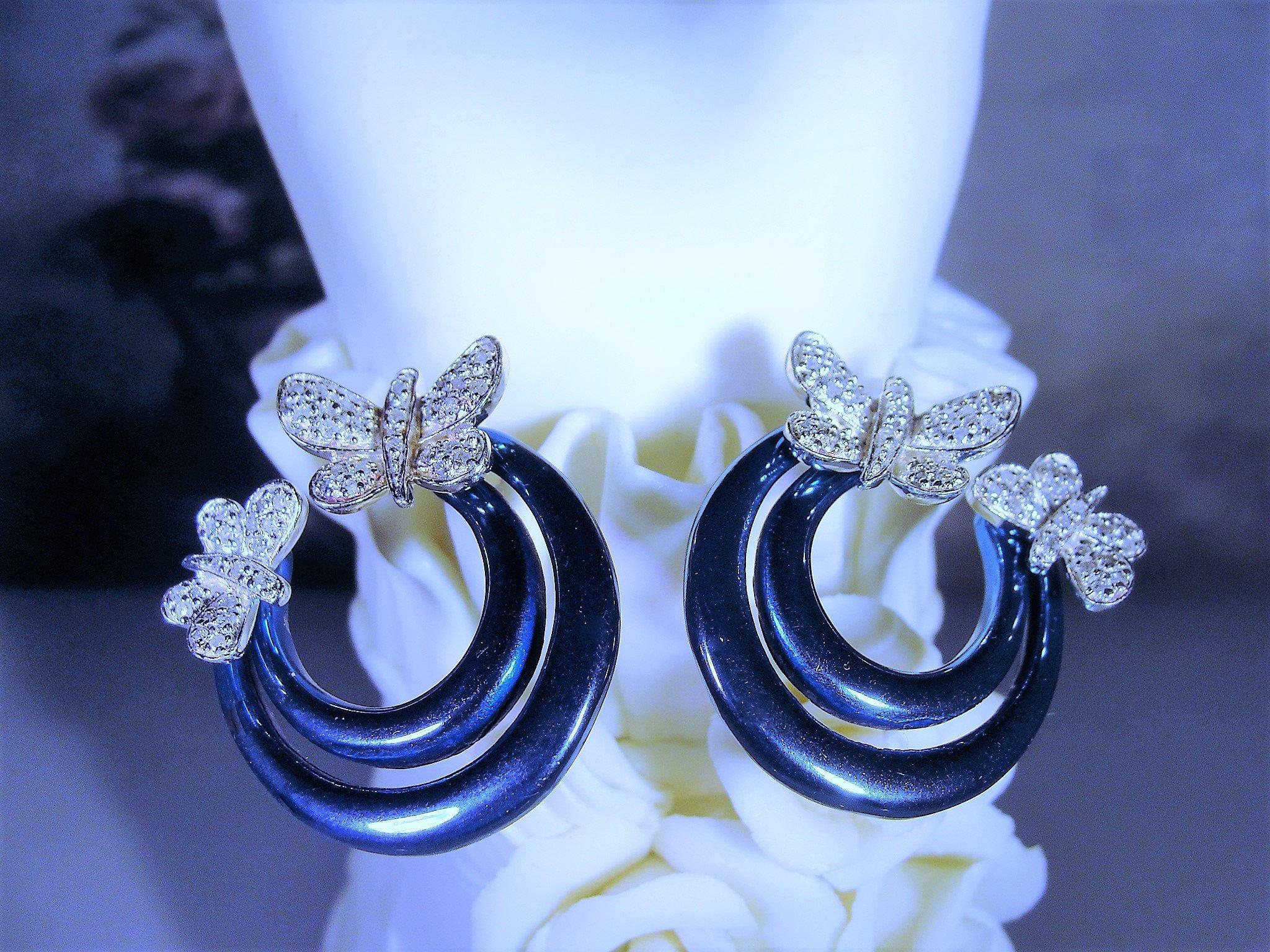54945862a Sterling Silver Pave Diamond Butterfly Earrings, Teal Blue Enamel Hoops,  Pierced Earrings, Post Hoop Earrings, Vintage Earrings
