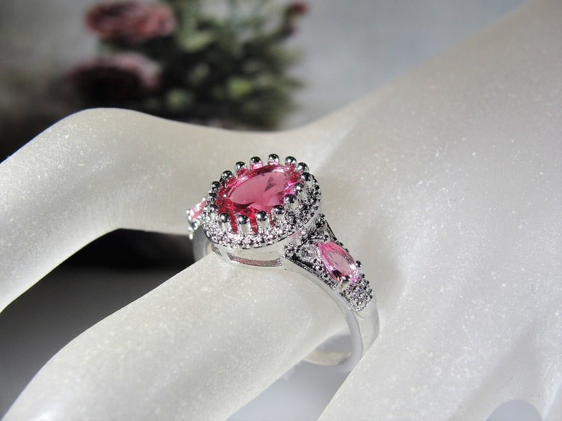 Pink Glass Ring with a Crown Mounting and Rhodium Plating Size 9 Fashion Ring Sterling Pink Glass Ring FREE SIZING!! Right Hand Ring