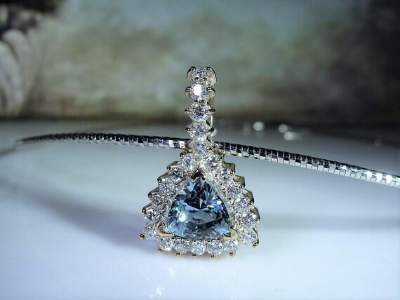 Aquamarine Necklace, 14K White Gold Aquamarine & D