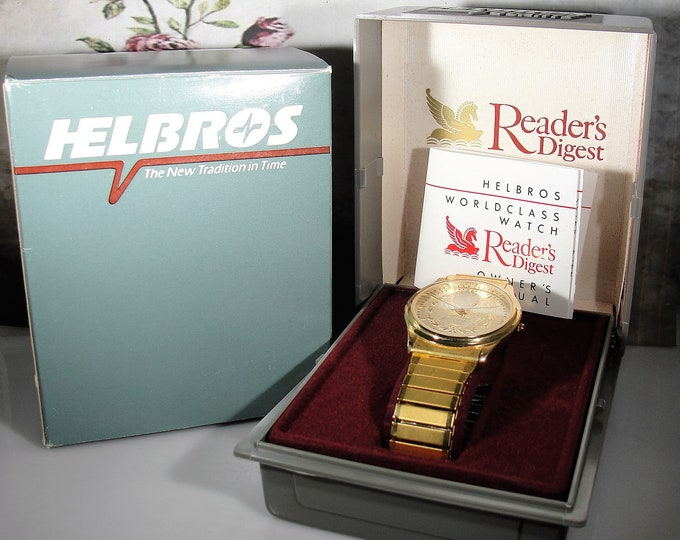 HELBROS Wristwatch, Reader's Digest Pegasus Quartz Wristwatch, Unisex Wristwatch, Gold Tone Wristwatch, Vintage Wristwatch