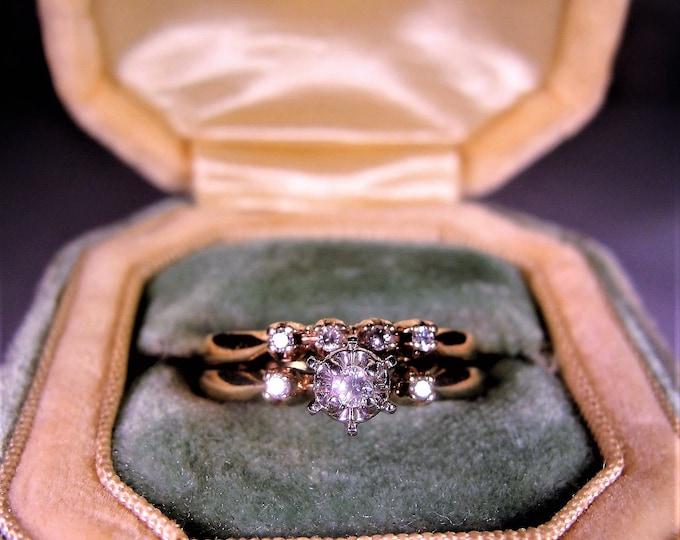 Bridal Ring Set, 10K Yellow Gold Rings, Diamond Engagement Ring, Diamond Wedding Band, Wedding Rings, Vintage Rings, Size 6, FREE SIZING!!